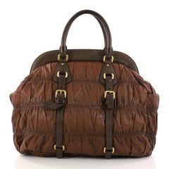 Prada Gaufre Frame Bag Nappa Leather Large Brown 2893601
