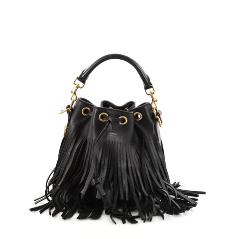 84458a6186f Buy Saint Laurent Fringe Emmanuelle Bucket Bag Leather Small 2893803 – Rebag