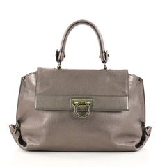 Salvatore Ferragamo Sofia Satchel Smooth Leather Small  Gray 2894005