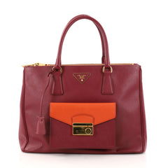 Prada Front Pocket Double Zip Lux Tote Saffiano Leather Red 2894203