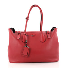 Prada Buckle Tote Soft Calfskin Large Red 2895301
