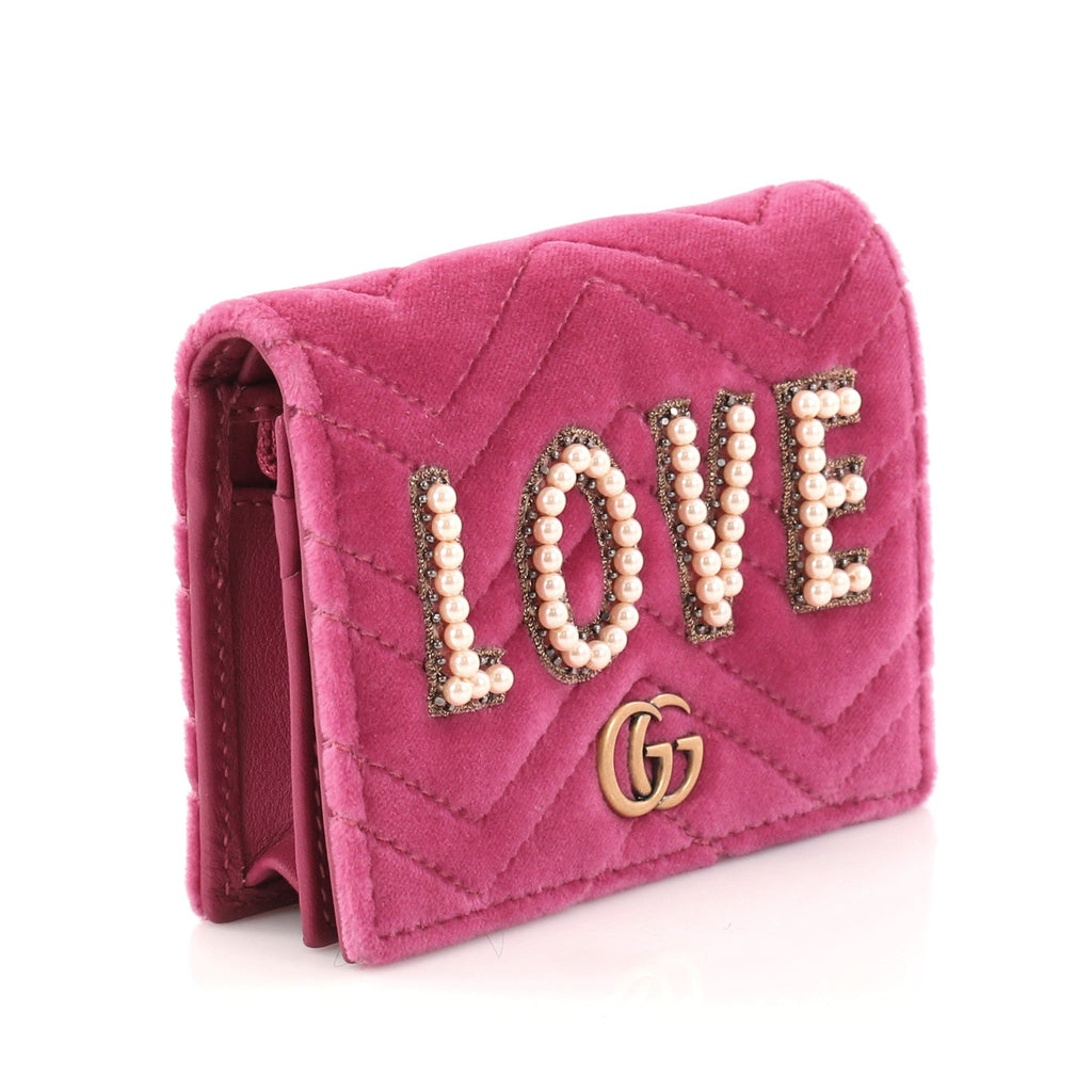 f615f9f50cf996 Buy Gucci GG Marmont 2.0 Love Card Holder Embellished 2896205 – Rebag