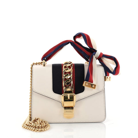 c39aa8ce518 Buy Gucci Sylvie Chain Shoulder Bag Leather Mini White 2896603 – Rebag