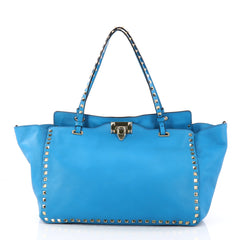 Valentino Rockstud Tote Soft Leather Medium Blue 2902601