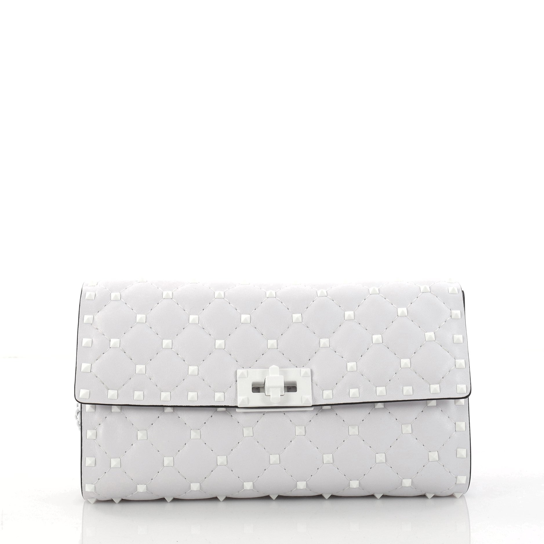 Rockstud Spike Wallet on Chain Quilted Leather Small