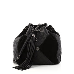 Chanel Patchwork Drawstring Bag Leather and Suede Medium 2907702