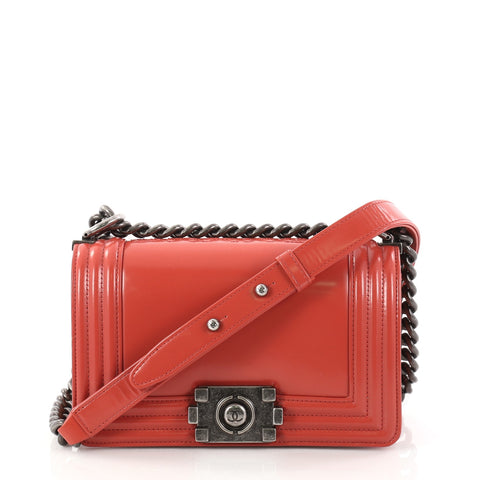 1e6f649cd9e7 Buy Chanel Reverso Boy Flap Bag Glazed Calfskin Small Red 2909502 – Rebag