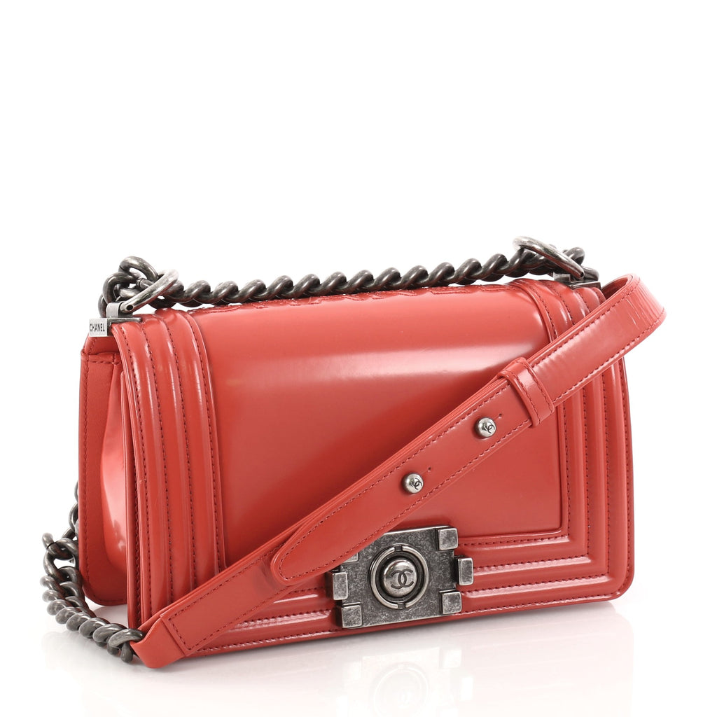 3e29f70424bd Buy Chanel Reverso Boy Flap Bag Glazed Calfskin Small Red 2909502 ...