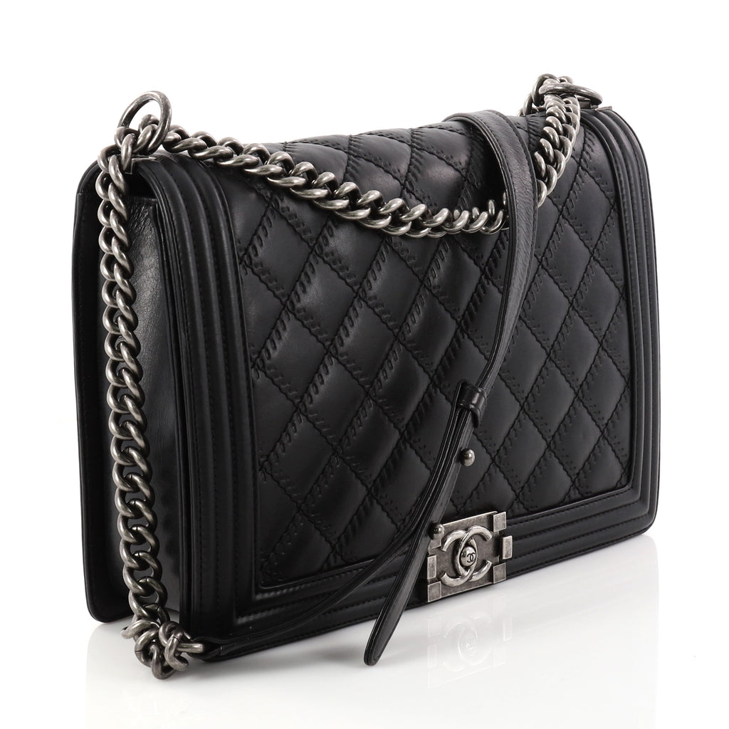 7ca89fd782a5a2 Buy Chanel Double Stitch Boy Flap Bag Quilted Calfskin Large 2918801 ...