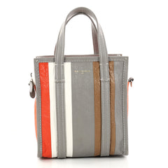 Balenciaga Bazar Convertible Tote Striped Leather XS Gray 2919601