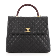 Chanel Coco Top Handle Bag Quilted Caviar with Lizard 2926501 28bd51a2abf64