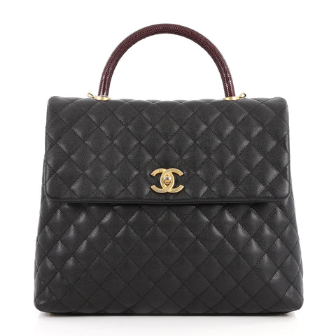 fff8262f9033a8 Buy Chanel Coco Top Handle Bag Quilted Caviar with Lizard 2926501 – Rebag