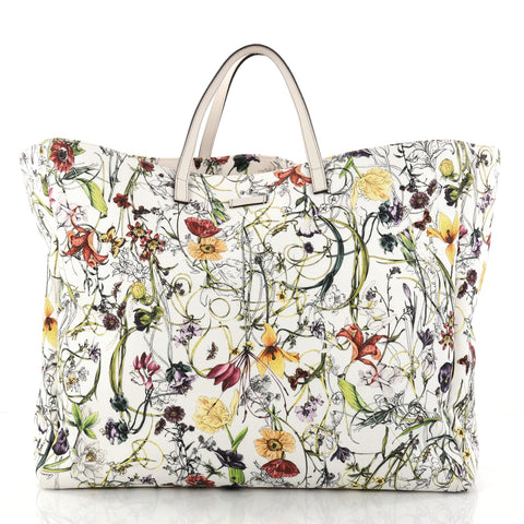 c66698303197 Buy Gucci Open Tote Flora Canvas Large White 2935101 – Rebag