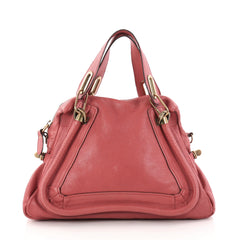 Chloe Paraty Top Handle Bag Leather Medium Red 2935403