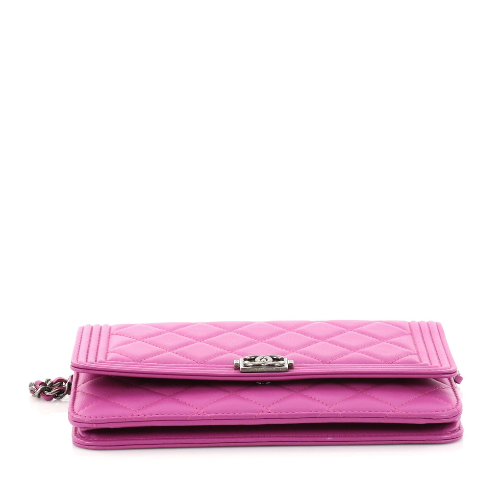 76a9b45356d313 Buy Chanel Boy Wallet on Chain Quilted Lambskin Purple 2936102 – Rebag