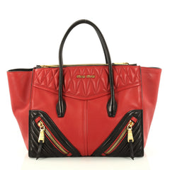 Miu Miu Biker Convertible Tote Leather Medium Red 2936303