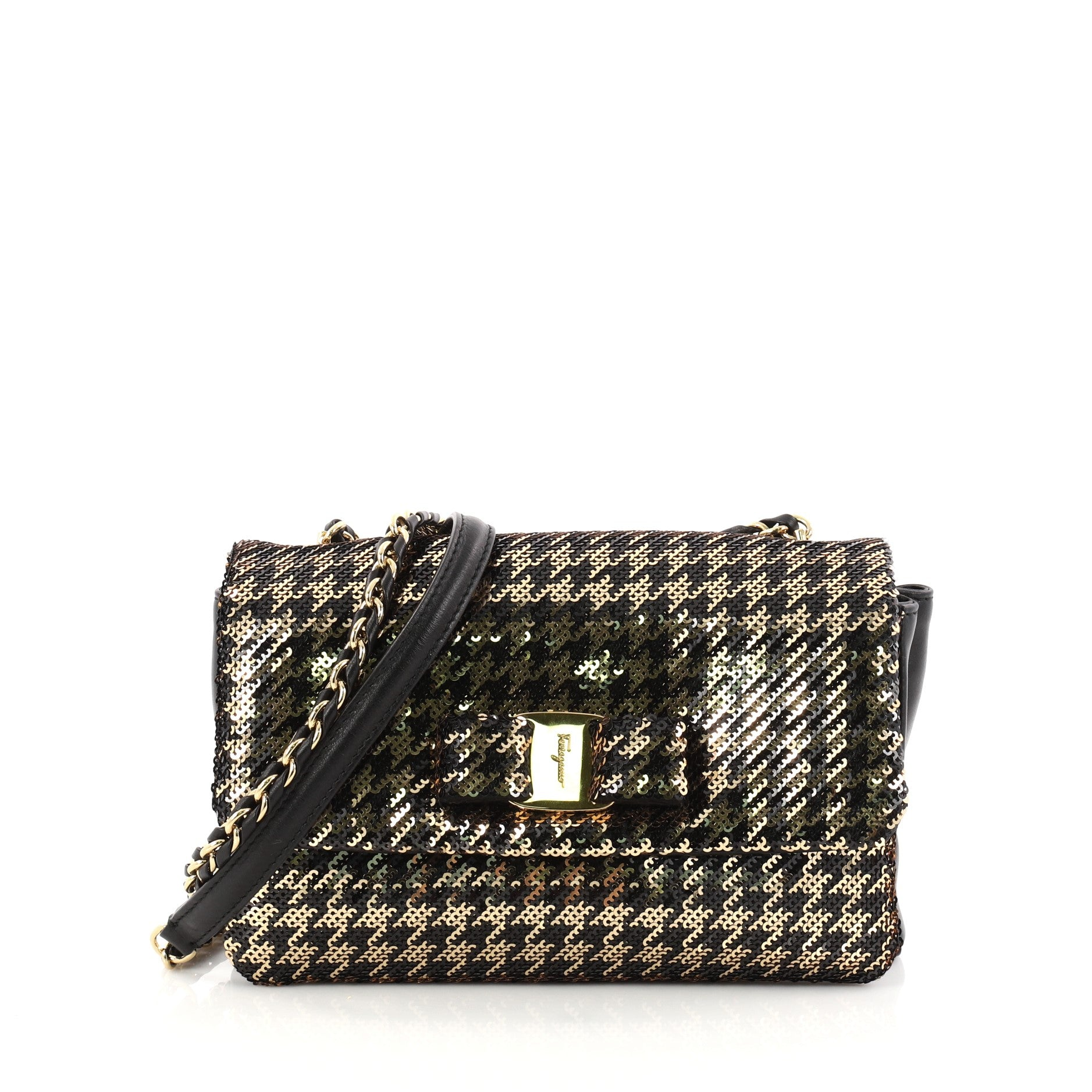 Miss Vara Bow Crossbody Bag Sequin Embellished Lambskin Small