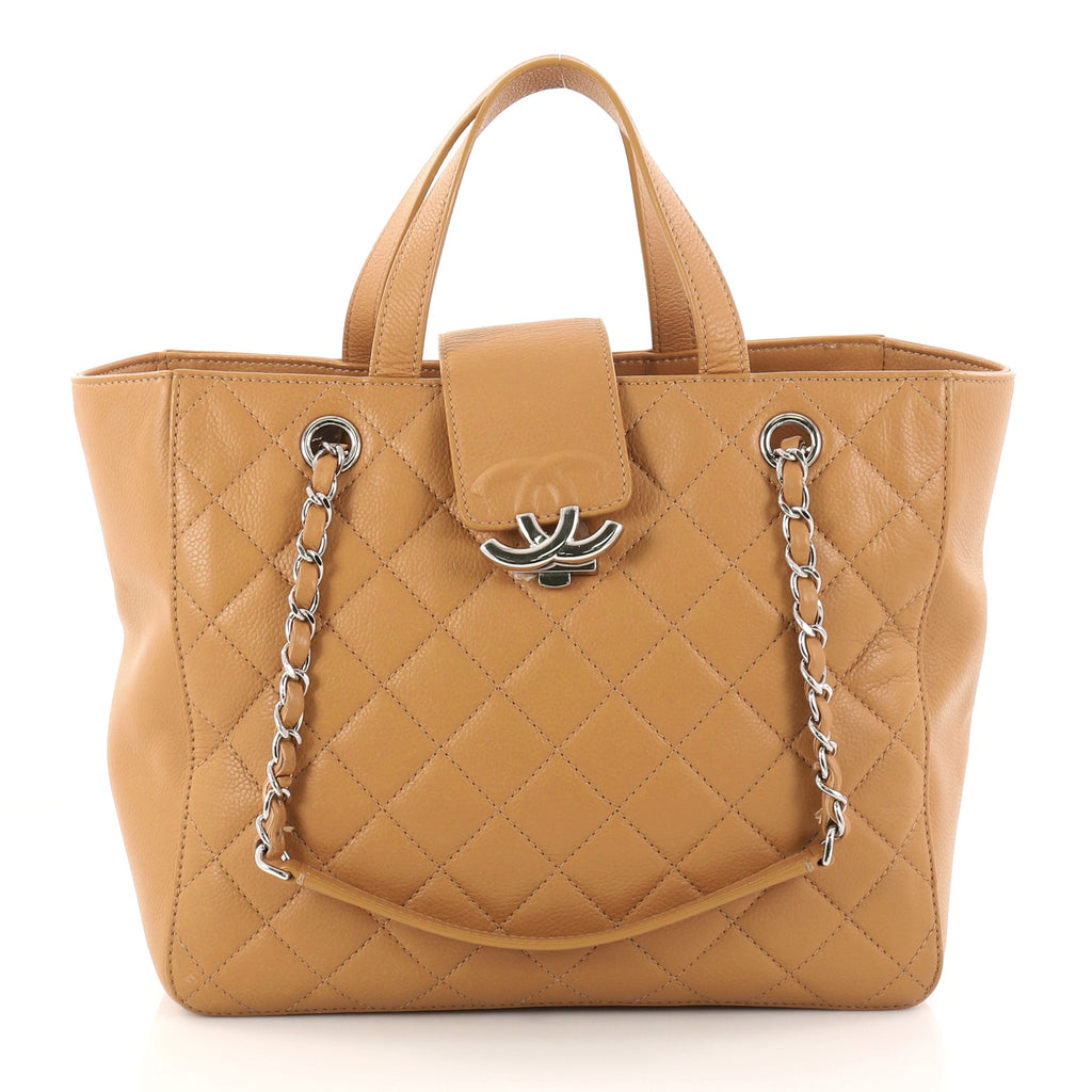 cc0b5aa2d0e3 Buy Chanel CC Box Shopping Tote Quilted Caviar Small Brown 2938801 ...