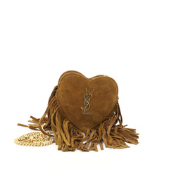 Saint Laurent Fringe Love Heart Chain Bag Suede Mini Brown 2939004