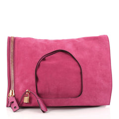 Tom Ford Alix Fold Over Bag Suede Large Pink 2942701