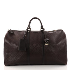 Gucci Bright Carry On Duffle Bag Diamante Leather Large Brown 2942801
