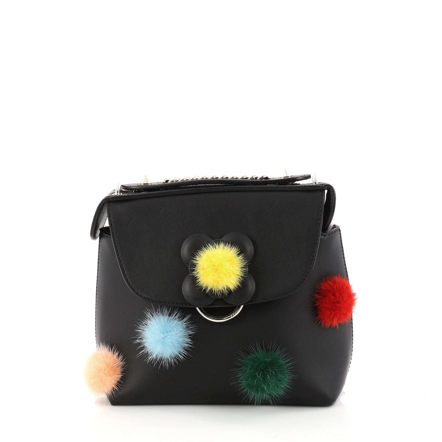 Back to School Backpack Pom Pom Leather Mini