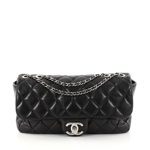 c45bb8dcda26 Buy Chanel Coco Rain Flap Bag Quilted Lambskin Medium Black 2945201 – Rebag