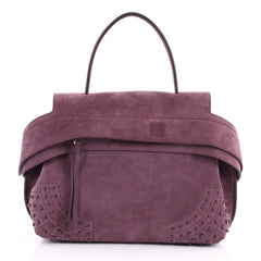 Tod's Studded Convertible Wave Bag Suede Medium Purple 2952101