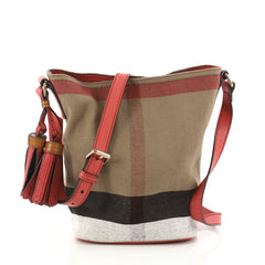 Burberry Ashby Handbag House Check Canvas Mini Brown 2954902
