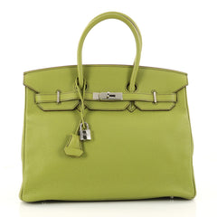 Hermes Birkin Handbag Green Togo with Palladium Hardware 2958201