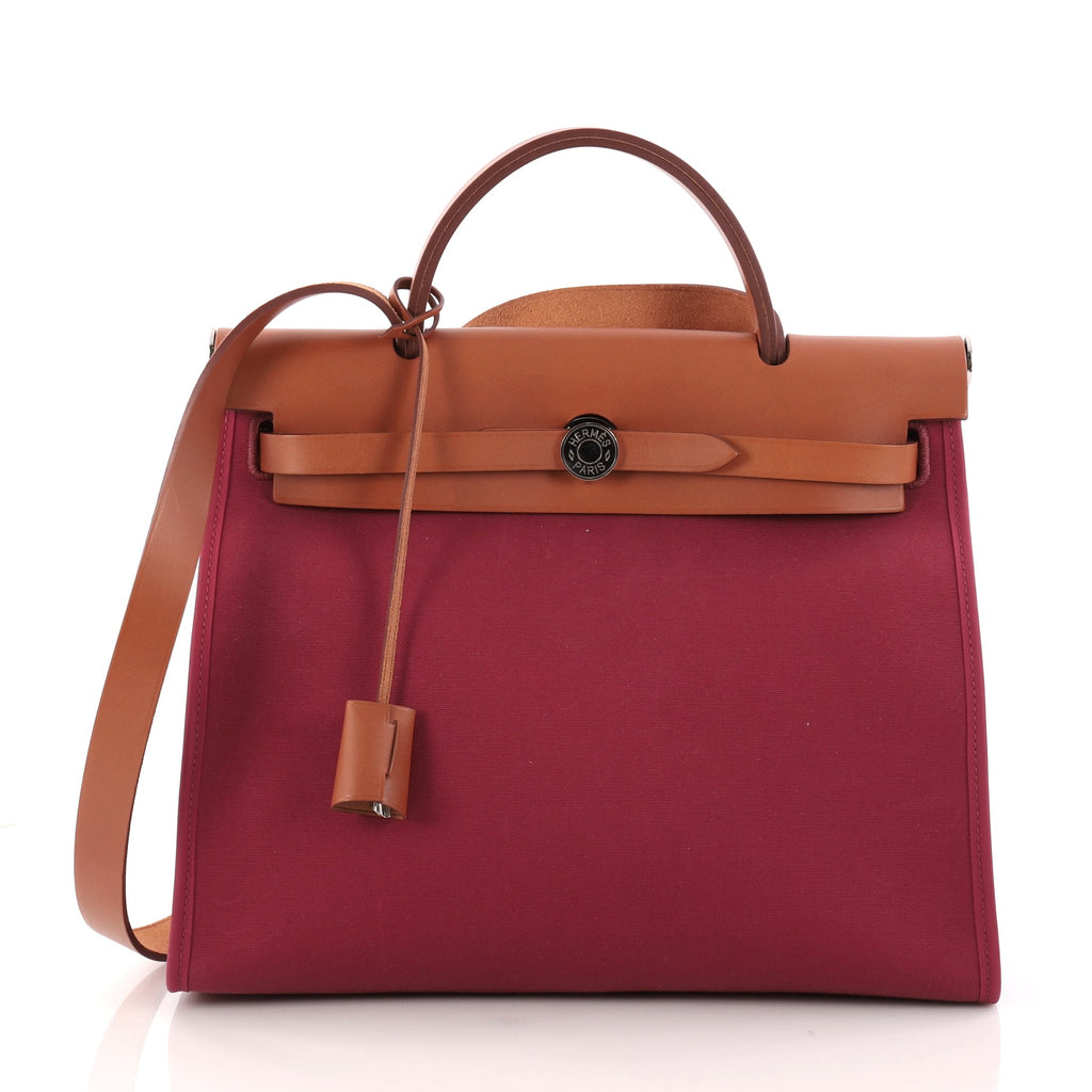 9580557fa13 ... new zealand buy hermes herbag zip leather and toile 31 red 2958601  rebag 1d7c2 4a001