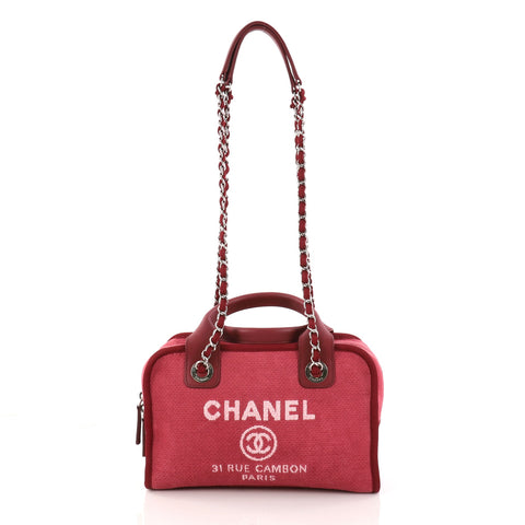 8fb48606d773 Buy Chanel Deauville Bowling Bag Canvas Small Red 2960008 – Rebag