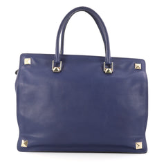 Valentino Rockstud Four Corner Tote Leather Large Blue 2963301
