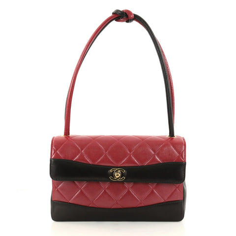 741293ad21ea74 Buy Chanel Vintage Two Tone Knot Handle Flap Bag Quilted 2970203 – Rebag