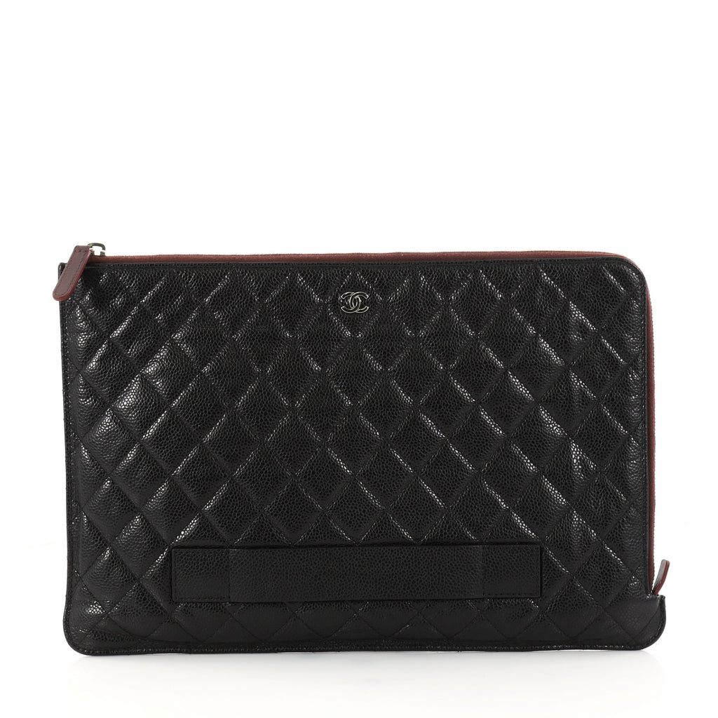 2ab9c69b2a1e6e Buy Chanel Ipad Pouch Quilted Caviar Large Black 2972103 – Rebag