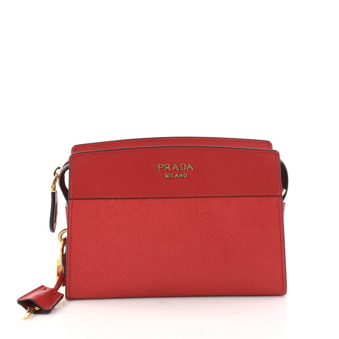 c10898e5ec21 Buy Prada Esplanade Crossbody Bag Saffiano Leather Small Red 2972504 – Rebag