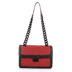 Glass Shoulder Bag Intrecciato Nappa with Snakeskin Small