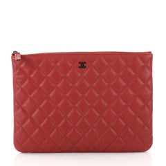 Chanel O Case Clutch Quilted Lambskin Medium Red 2977501
