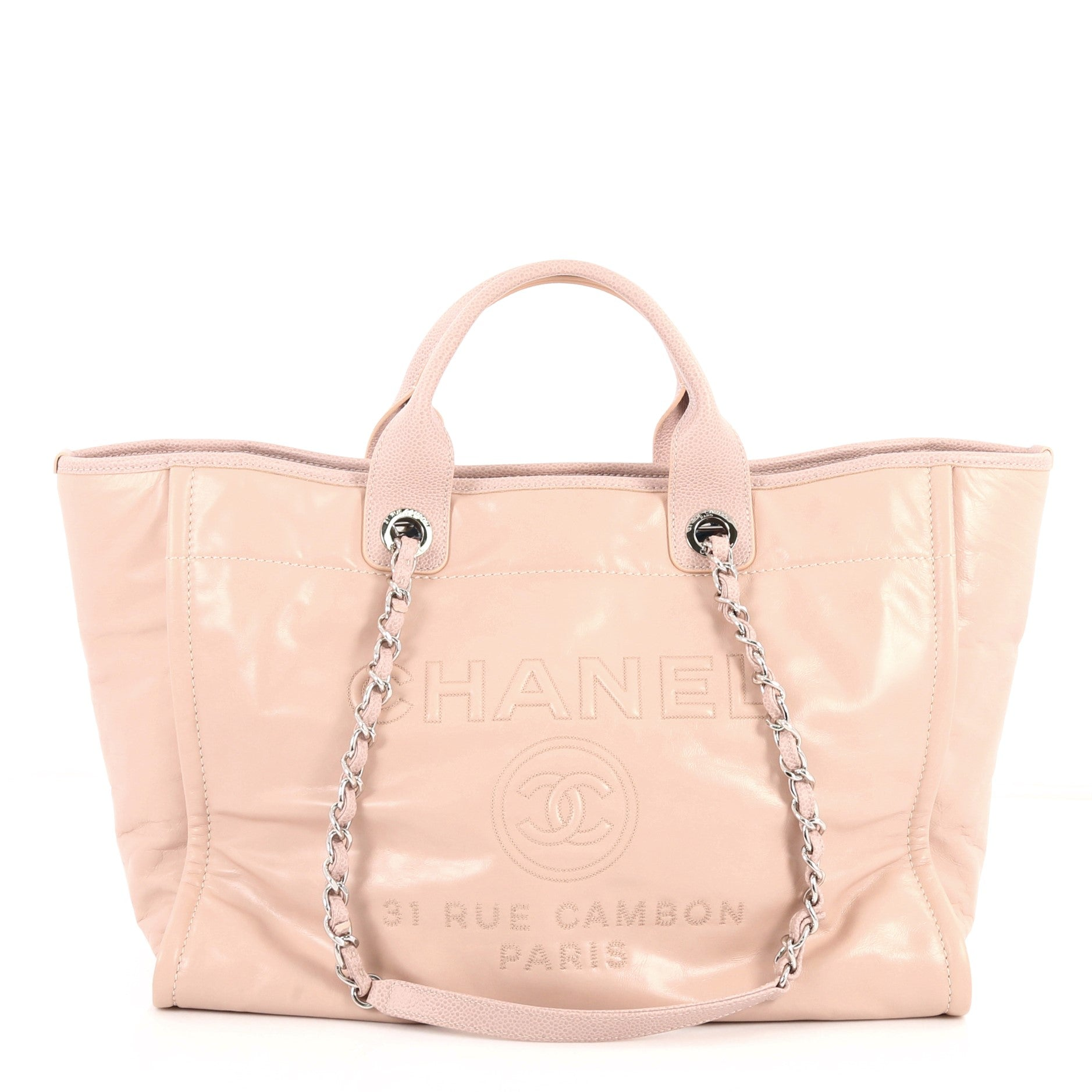 Deauville Chain Tote Glazed Calfskin Large