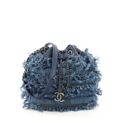 Chanel Drawstring Charm Bucket Bag Fringe Denim Blue 2980202