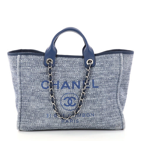 12c717a79468 Buy Chanel Deauville Chain Tote Tweed Large Blue 2983501 – Rebag