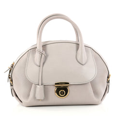 Salvatore Ferragamo Fiamma Satchel Leather Medium Gray 2984202