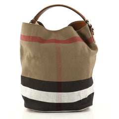 Burberry Ashby Handbag House Check Canvas Medium Brown 2988802