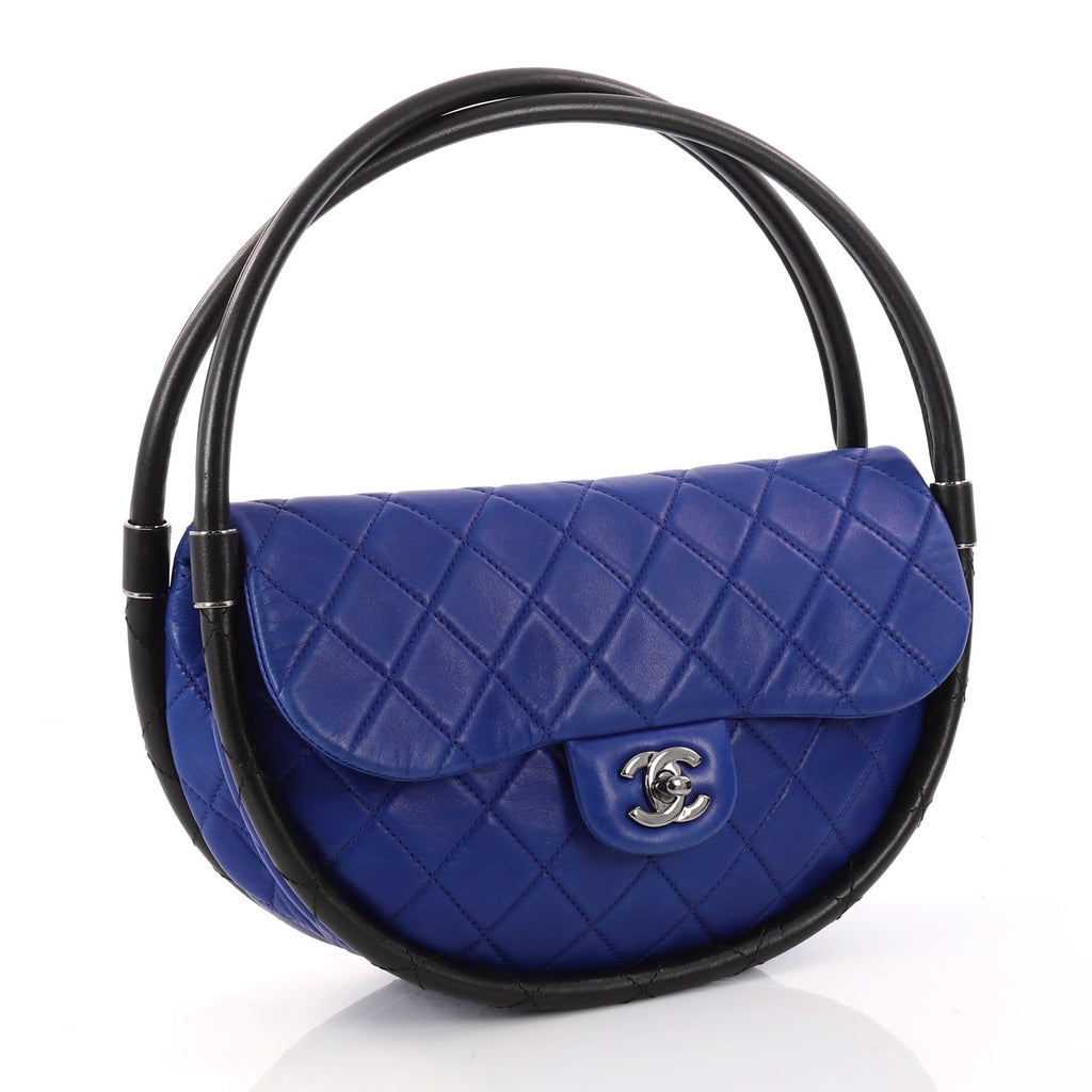 Buy Chanel Hula Hoop Bag Quilted Lambskin Small Blue