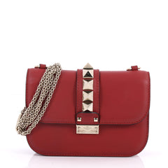 Valentino Glam Lock Shoulder Bag Leather Small Red 2994101