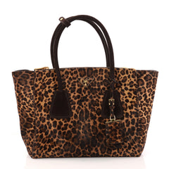 Prada Twin Pocket Tote Cavallino Calf Hair Medium Brown 2996602