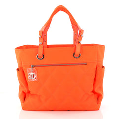 Chanel Biarritz Pocket Tote Quilted Canvas Large Orange 2996704
