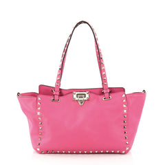 Valentino Rockstud Tote Soft Leather Small Pink 2999602