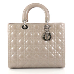 Christian Dior Lady Dior Handbag Cannage Quilt Patent Neutral 3000301