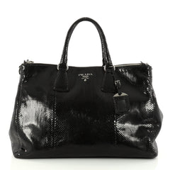 Prada Double Zip Lux Tote Python Large Black 3010301